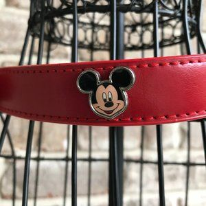 Disney Mickey Mouse Leather Dog Collar Red 1 Owner